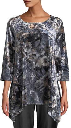 Caroline Rose Round-Neck Foggy Floral-Print Stretch-Velvet Swing Tunic, Plus Size