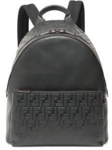 Fendi Leather Logo Embossed Backpack