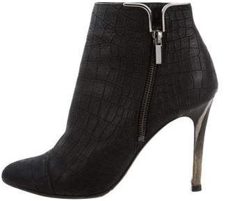 Lanvin Embossed Pointed-Toe Ankle Boots