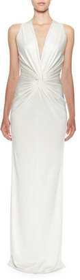 Lanvin Sleeveless V-Neck Twisted-Waist Gown, Ivory $2,125 thestylecure.com
