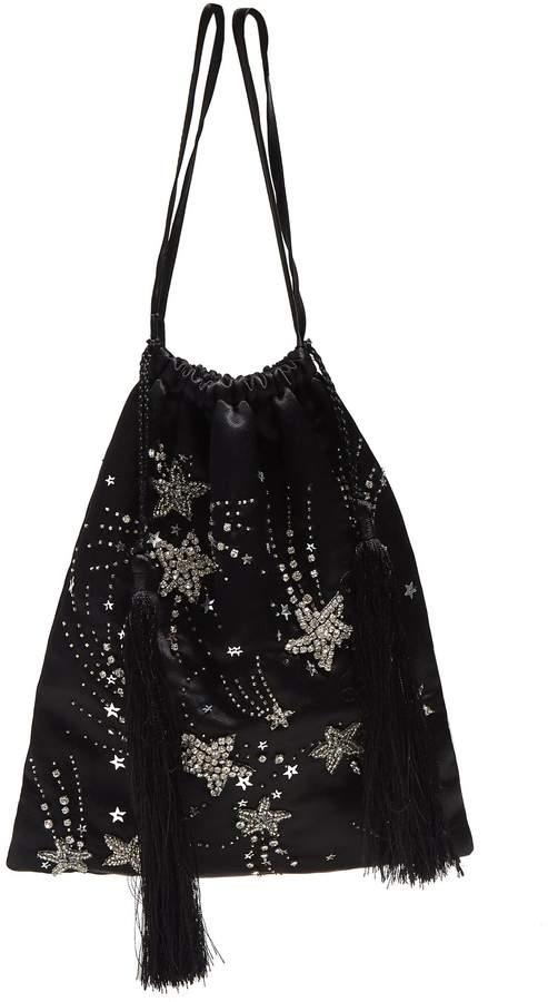 ATTICO Star-embellished tassel-trimmed pouch