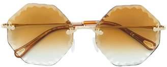 Chloé Eyewear bevelled edge octagonal sunglasses