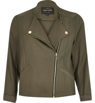 River Island Womens Khaki green soft biker jacket