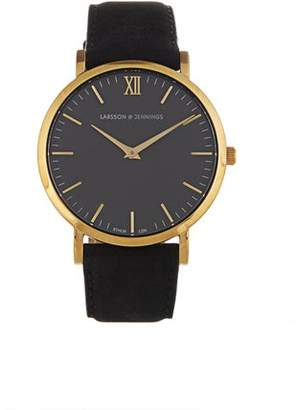 Larsson & Jennings Lugano Gold Plated And Leather Watch - Mens - Black Multi
