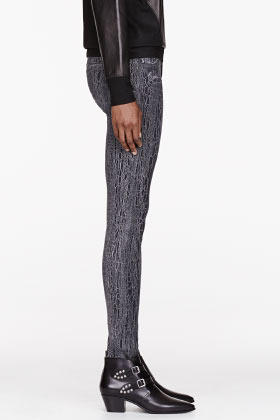 Mother Grey Patterned The Looker Skinny Breaking Point Jeans