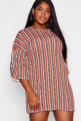boohoo NEW Womens Plus Striped T-Shirt Dress in Polyester 15% Elastane