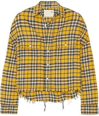 R13 - Cropped Checked Cotton-flannel Shirt - Yellow