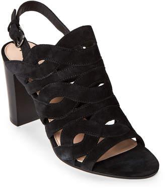 Via Spiga Black Galore Cutout Block Heel Slingback Sandals