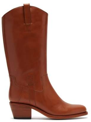 A.P.C. Nina Western Leather Boots - Womens - Tan