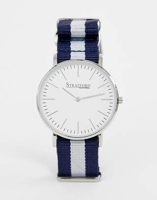 Stratford mens nylon strap watch in navy and white