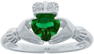 JCPenney FINE JEWELRY Heart-Shaped Lab-Created Emerald and Diamond-Accent Sterling Silver Claddagh Ring
