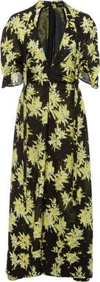 Proenza Schouler Deep V-Neck Printed Georgette Dress