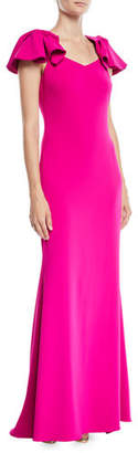 Badgley Mischka Crepe Column Gown w/ Twist Cap Sleeves