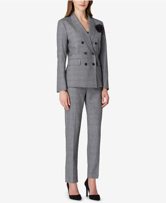 Tahari ASL Double-Breasted Plaid Pantsuit