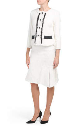 Contrast Jacket With Flounce Skirt