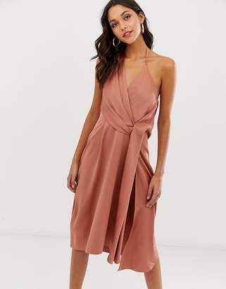 Asos Design DESIGN minimal drape midi dress in satin