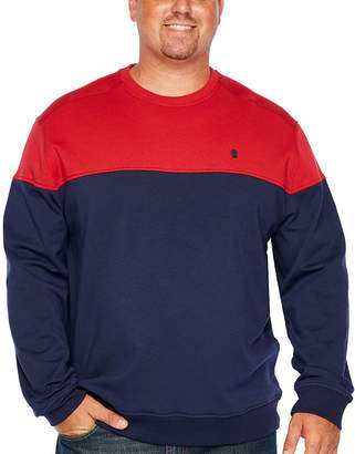 Izod Advantage Colorblock Chest Crew Neck Long Sleeve Sweatshirt - Big and Tall
