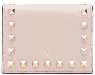 Valentino Rockstud Leather Wallet - Womens - Light Pink