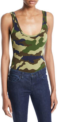 KENDALL + KYLIE Scoop-Neck Camouflage Bodysuit