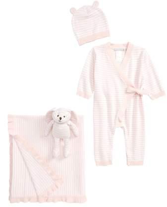 Elegant Baby Bunny Romper, Hat, Blanket & Plush Bunny