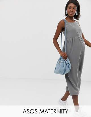 Asos DESIGN Maternity minimal jumpsuit with ruched waist