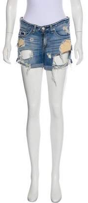 Rag & Bone Mid-Rise Distressed Denim Shorts