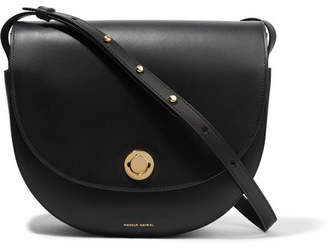 Mansur Gavriel Saddle Leather Shoulder Bag - Black