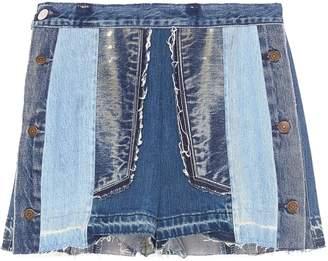 Atelier Reservé Button outseam frayed patchwork denim shorts