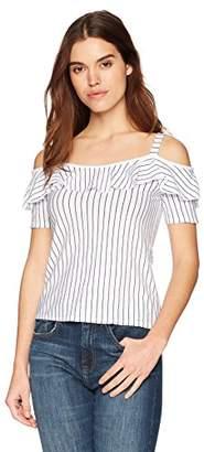 Three Dots Women's Big Sur Stripe Loose Short Cold Shoulder Top