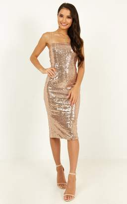 Showpo Classy Lady Dress in rose gold sequin - 8 (S) Engagement