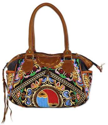 Hill Tribe Butterflies Thai Hill Tribe Embroidered Handbag with Leather Accents