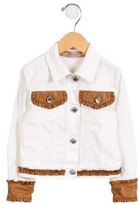 MonnaLisa Girls' Ruffle-Trimmed Patterned Jacket