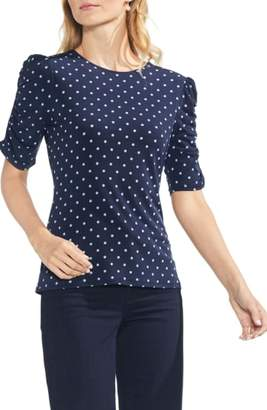 Vince Camuto Romantic Dots Ruched Sleeve Top