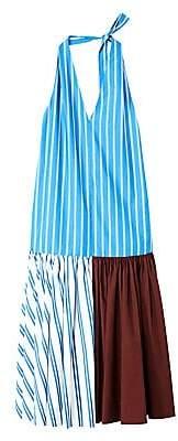 Tibi Women's Vivian Striped Halterneck Midi Dress - Size 0