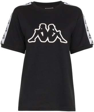 Charm's x Kappa black logo embroidered cotton blend top