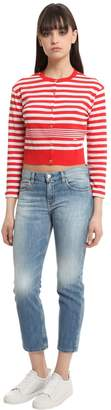 Sonia Rykiel Striped Cotton Knit Cropped Cardigan