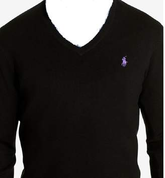 Polo Ralph Lauren Mens Ribbed Long Sleeves V-Neck Sweater Black S