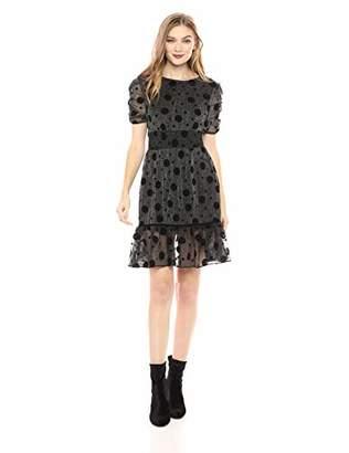 Betsey Johnson Women's Metallic Dress with Flocked Dots