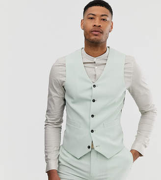 Asos Design ASOS DESIGN Tall wedding super skinny suit waistcoat in green cross