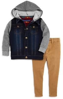 7 For All Mankind Boys' Hooded Denim Jacket, V-Neck Tee & Slim-Fit Pants Set - Baby