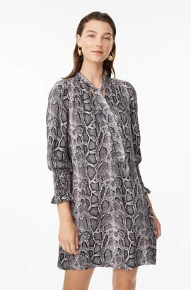 Snake Print Silk Scarf Tie Dress