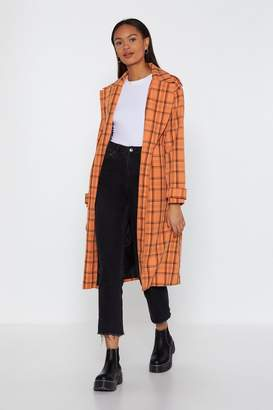 Nasty Gal Check Belted Trench Coat