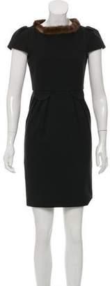 Tara Jarmon Mink Fur-Collar Dress