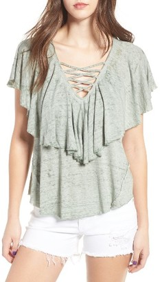 Women's Sun & Shadow Ruffle Tee $45 thestylecure.com