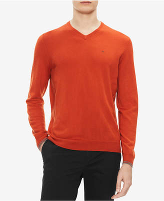 Calvin Klein Men Solid Extra-Fine Merino V-Neck Sweater