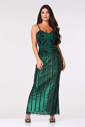 Gatsbylady London Edna Maxi Embellished Occasional Prom Dress in Green