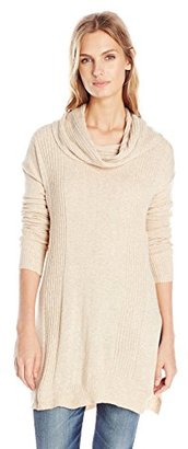 Buffalo David Bitton Women's Betunic Tunic Turtleneck Cowl Neck Sweater with High Slit $79 thestylecure.com