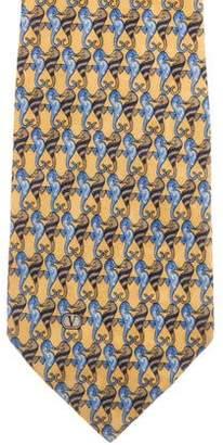 Valentino Seahorse Print Silk Tie