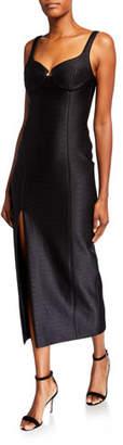 Brandon Maxwell Sweetheart-Neck Tea-Length Dress