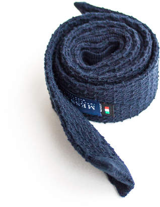 Mess Of Blues Dark Blue Italian Cotton Knitted Tie
